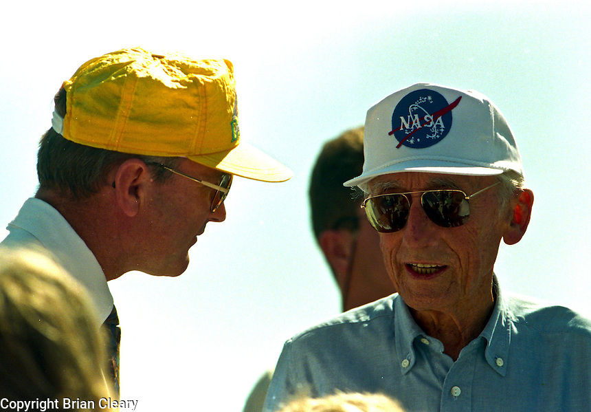 Legendary explorer, scientist, underwater pioneer Jacques Cousteau interatcs with fellow spectators as he prepares to watch Space Shuttle Atlantis lift-off from Kennerdy Space Center in Titusville, FL to begin the STS-66 mission on November 3, 1994.  (Photo by Brian Cleary / www.bcpix.com)