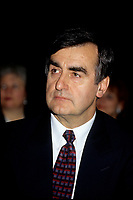 "Montreal (Qc) CANADA - File Photo - Jan 1996 -<br /> <br /> Lucien Bouchard,  Leader Parti Quebecois (from Jan 29, 1996 to March 2, 2001). seen in a file photo<br /> <br /> After the Yes side lost the 1995 referendum, Parizeau resigned as Quebec premier. Bouchard resigned his seat in Parliament in 1996, and became the leader of the Parti QuÈbÈcois and premier of Quebec.<br /> <br /> On the matter of sovereignty, while in office, he stated that no new referendum would be held, at least for the time being. A main concern of the Bouchard government, considered part of the necessary conditions gagnantes (""winning conditions"" for the feasibility of a new referendum on sovereignty), was economic recovery through the achievement of ""zero deficit"". Long-term Keynesian policies resulting from the ""Quebec model"", developed by both PQ governments in the past and the previous Liberal government had left a substantial deficit in the provincial budget.<br /> <br /> Bouchard retired from politics in 2001, and was replaced as Quebec premier by Bernard Landry."