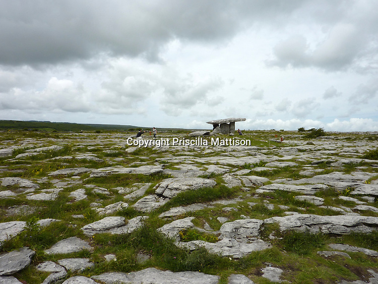County Clare, Republic of Ireland - July 17, 2010:  Poulnabrone Portal Tomb stands at a distance.