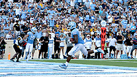 CHAPEL HILL, NC - SEPTEMBER 21: Carl Tucker #86 of the University of North Carolina scores a touchdown during a game between Appalachian State University and University of North Carolina at Kenan Memorial Stadium on September 21, 2019 in Chapel Hill, North Carolina.