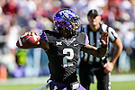TCU Horned Frogs quarterback Trevone Boykin (2) in action during the game between the Oklahoma Sooners and the TCU Horned Frogs at the Amon G. Carter Stadium in Fort Worth, Texas. TCU defeats OU 37 to 33.