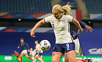 LE HAVRE, FRANCE - APRIL 13: Lindsey Horan #9 of the United States looks to get herself in a scoring position during a game between France and USWNT at Stade Oceane on April 13, 2021 in Le Havre, France.