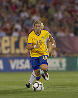 Sweden midfielder Louise Fors (19) on the attack. The US Women's national team beat Sweden, 3-0, at Rentschler Field on July 17, 2010.