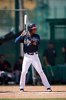 Atlanta Braves Derian Cruz (4) at bat during an Instructional League game against the Detroit Tigers on October 10, 2017 at the ESPN Wide World of Sports Complex in Orlando, Florida.  (Mike Janes/Four Seam Images)