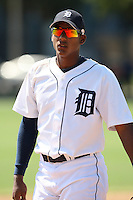 Detroit Tigers minor league outfielder Edgar Corcino vs. the Philadelphia Phillies during an Instructional League game at Tiger Town in Lakeland, Florida;  October 13, 2010.  Photo By Mike Janes/Four Seam Images