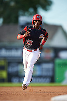 Batavia Muckdogs shortstop Samuel Castro (25) running the bases during a game against the West Virginia Black Bears on August 21, 2016 at Dwyer Stadium in Batavia, New York.  West Virginia defeated Batavia 6-5. (Mike Janes/Four Seam Images)