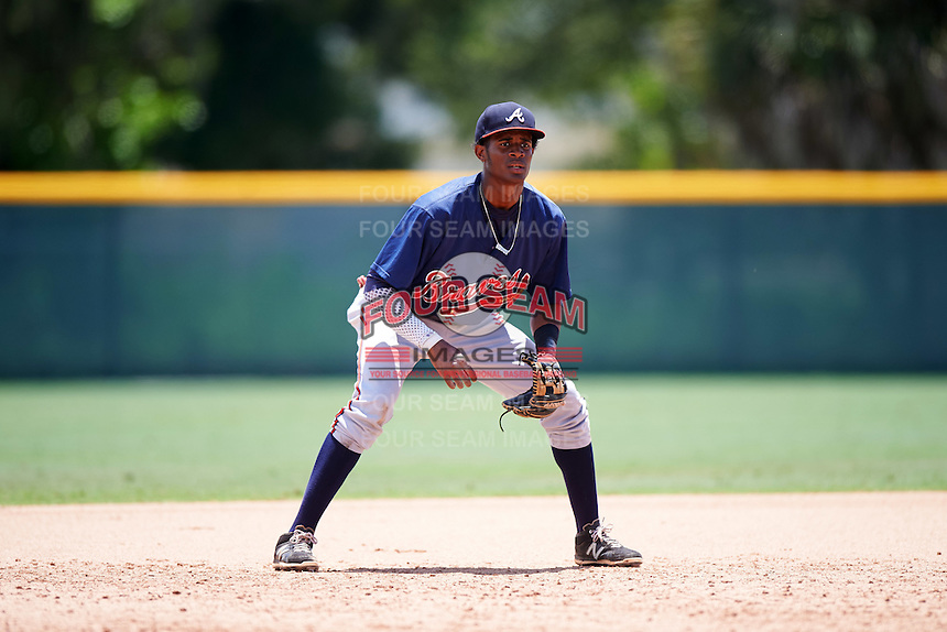 GCL Braves third baseman Alex Aquino (1) during a game against the GCL Pirates on August 10, 2016 at Pirate City in Bradenton, Florida.  GCL Braves defeated the GCL Pirates 5-1.  (Mike Janes/Four Seam Images)