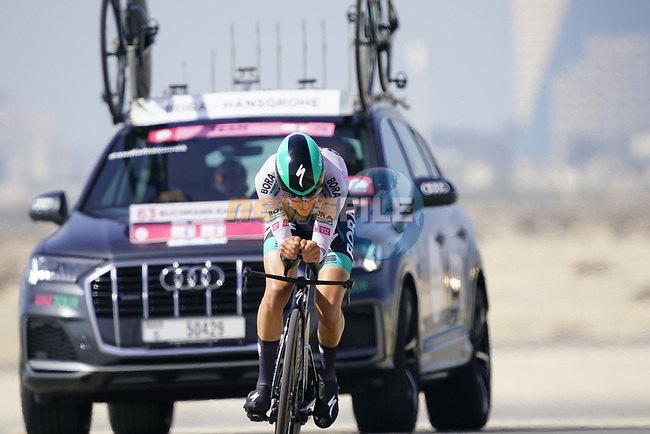 Emanuel Buchmann (GER) Bora-Hansgrohe during Stage 2 of the 2021 UAE Tour an individual time trial running 13km around  Al Hudayriyat Island, Abu Dhabi, UAE. 22nd February 2021.  <br /> Picture: Eoin Clarke | Cyclefile<br /> <br /> All photos usage must carry mandatory copyright credit (© Cyclefile | Eoin Clarke)