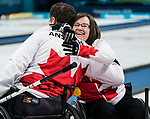 PyeongChang 14/3/2018 - Hugs for the win as Canada takes on Slovakia in wheelchair curling at the Gangneung Curling Centre during the 2018 Winter Paralympic Games in Pyeongchang, Korea. Photo: Dave Holland/Canadian Paralympic Committee