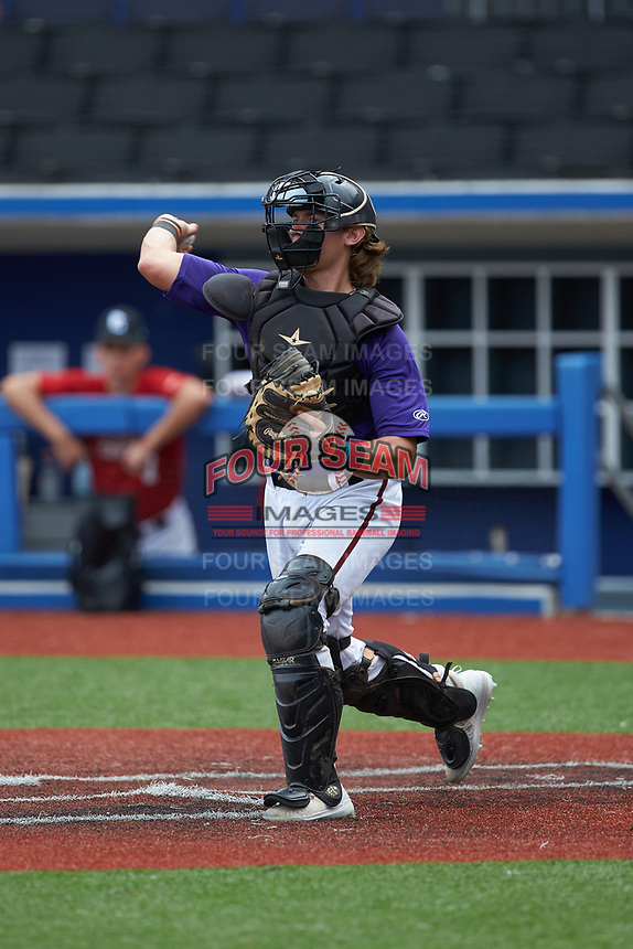 Catcher Graham Smiley (5) of East Lincoln High School in Denver, NC during the Atlantic Coast Prospect Showcase hosted by Perfect Game at Truist Point on August 22, 2020 in High Point, NC. (Brian Westerholt/Four Seam Images)