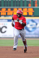 Harrisburg Senators Leonard Davis #23 during a game against the Erie SeaWolves at Jerry Uht Park on August 6, 2011 in Erie, Pennsylvania.  Harrisburg defeated Erie 10-6.  (Mike Janes/Four Seam Images)