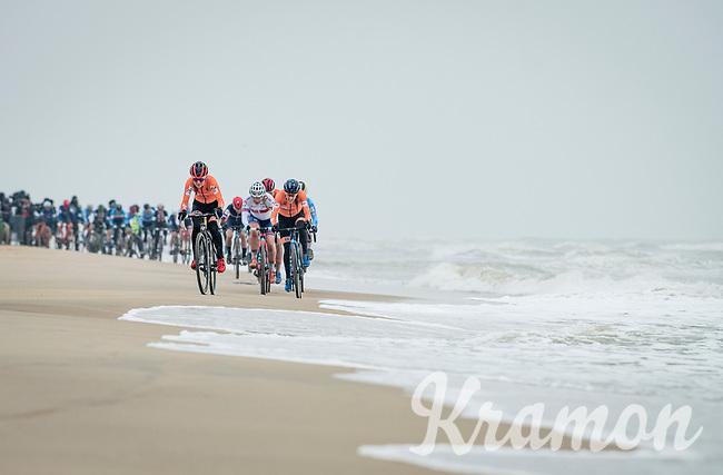 Denise Betsema (NED/Pauwels Sauzen-Bingoal) leading the race next to the seashore<br /> <br /> UCI 2021 Cyclocross World Championships - Ostend, Belgium<br /> <br /> Women's Race<br /> <br /> ©kramon