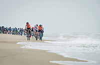 Denise Betsema (NED/Pauwels Sauzen-Bingoal) leading the race next to the seashore<br /> <br /> UCI 2021 Cyclocross World Championships - Ostend, Belgium<br /> <br /> Women's Race<br /> <br /> ©kramon