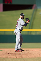 Glendale Desert Dogs relief pitcher Rob Kaminsky (28), of the Cleveland Indians organization, gets ready to deliver a pitch during an Arizona Fall League game against the Mesa Solar Sox at Sloan Park on October 27, 2018 in Mesa, Arizona. Glendale defeated Mesa 7-6. (Zachary Lucy/Four Seam Images)