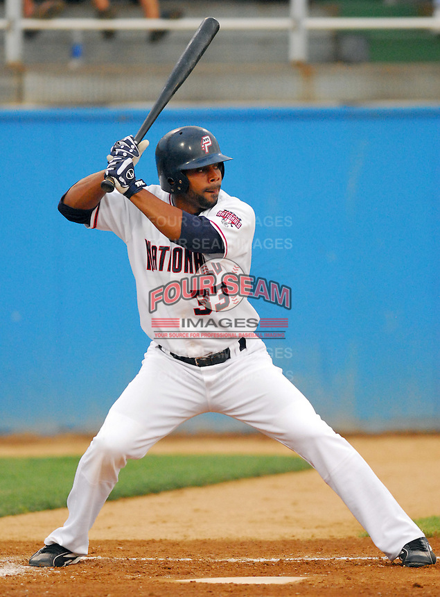25 June 2007: Edgar Baez of the Potomac Nationals, Class A Carolina League affiliate of the Washington Nationals, taken at Pfitzner Stadium, Woodbridge, Va., in a game against the Frederick Keys. Photo by:  Tom Priddy/Four Seam Images