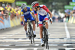 Thibaut Pinot (FRA) Groupama-FDJ finishes in 2nd place with Julian Alaphilippe (FRA) Deceuninck-Quick Step in 3rd and taking back the Yellow Jersey at the end of Stage 8 of the 2019 Tour de France running 200km from Macon to Saint-Etienne, France. 13th July 2019.<br /> Picture: ASO/Alex Broadway   Cyclefile<br /> All photos usage must carry mandatory copyright credit (© Cyclefile   ASO/Alex Broadway)