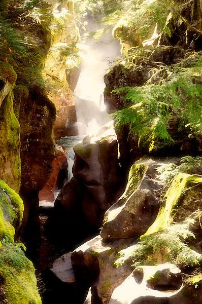 Tranquility Cuts Granite. Avalanche Falls Glacier Park Montana. Marc Caryl Nature Photos.