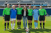 Bridgeview, IL - Saturday April 22, 2017: Referees, Becky Sauerbrunn, Sophia Bush, Christen Press during a regular season National Women's Soccer League (NWSL) match between the Chicago Red Stars and FC Kansas City at Toyota Park.