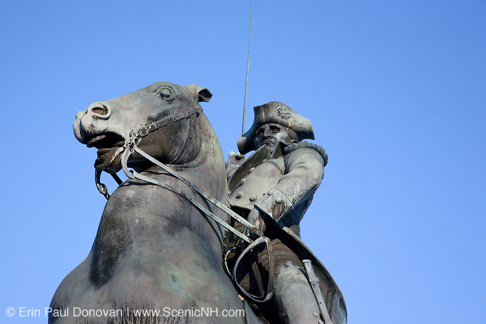 General John Stark statue at Arms Park in Manchester, New Hampshire, USA which is part of scenic New England