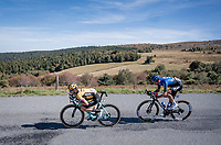 Amund Grondahl Jansen (NOR/Jumbo-Visma) descending the Col du Béal in the tuck position, followed by Roman Kreuziger (CZE/NTT)<br /> <br /> Stage 14 from Clermont-Ferrand to Lyon (194km)<br /> <br /> 107th Tour de France 2020 (2.UWT)<br /> (the 'postponed edition' held in september)<br /> <br /> ©kramon