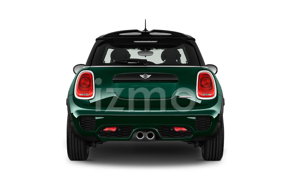 Straight rear view of 2016 MINI MINI JCW 3 Door Hatchback Rear View  stock images