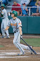 July 19, 2007: Boise Hawks' Ty Wright makes his way out of the batter's box after connecting with a pitch during a Northwest League game against the Everett AquaSox at Everett Memorial Stadium in Everett, Washington.
