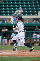 Lakeland Flying Tigers Kody Clemens (8) hits an RBI single during a Florida State League game against the St. Lucie Mets on April 24, 2019 at Publix Field at Joker Marchant Stadium in Lakeland, Florida.  Lakeland defeated St. Lucie 10-4.  (Mike Janes/Four Seam Images)