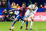 Emmanuel Okyere Boateng of Levante UD (L) fights for the ball with Raphael Varane of Real Madrid (R) during the La Liga 2017-18 match between Levante UD and Real Madrid at Estadio Ciutat de Valencia on 03 February 2018 in Valencia, Spain. Photo by Maria Jose Segovia Carmona / Power Sport Images