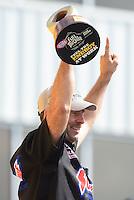 May 6, 2012; Commerce, GA, USA: NHRA pro stock driver Greg Anderson celebrates after winning the Southern Nationals at Atlanta Dragway. Mandatory Credit: Mark J. Rebilas-