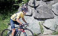 yellow jersey / GC leader Richie Porte (AUS/Ineos Grenadiers) up the Col des Aravis (2Cat/1498m/6.7km@7%)<br /> <br /> 73rd Critérium du Dauphiné 2021 (2.UWT)<br /> Stage 8 (Final) from La Léchère-Les-Bains to Les Gets (147km)<br /> <br /> ©kramon