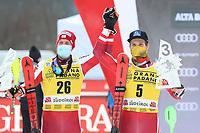21st December 2020; Alta Badia Ski Resort, Dolomites, Italy; International Ski Federation World Cup Slalom Skiing;  from left on the podium, Manuel Feller AUT and Marco Schwarz (AUT)