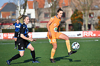 Chloe Vande Velde (10 Gent) pictured before Celien Guns (10 Brugge) during a female soccer game between Club Brugge Dames YLA and AA Gent Ladies on the sixth matchday of the 2020 - 2021 season of Belgian Scooore Womens Super League , saturday 7 th November 2020  in Knokke , Belgium . PHOTO SPORTPIX.BE | SPP | DAVID CATRY