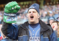 27 Nov 2005:  A Seattle Seahawks fan waves his incredible hulk fist in the air after the Seahawks scored against the New York Giants at Qwest Field in Seattle, Washington.