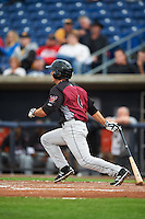 Wisconsin Timber Rattlers shortstop Blake Allemand (6) at bat during the first game of a doubleheader against the Quad Cities River Bandits on August 19, 2015 at Modern Woodmen Park in Davenport, Iowa.  Quad Cities defeated Wisconsin 3-2.  (Mike Janes/Four Seam Images)