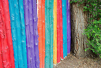 Colorful fence near Santa Fe, New Mexico