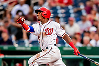 26 September 2018: Washington Nationals outfielder Victor Robles hits a 3-run homer in the 5th inning making the score 9-0 against the Miami Marlins at Nationals Park in Washington, DC. The Nationals defeated the visiting Marlins 9-3, closing out Washington's 2018 home season. Mandatory Credit: Ed Wolfstein Photo *** RAW (NEF) Image File Available ***