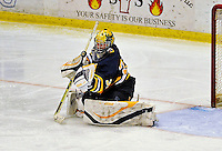16 November 2008: Merrimack College Warriors' goaltender Andrew Braithwaite, a Junior from Kingston, Ontario, makes a third period save against the University of Vermont Catamounts at Gutterson Fieldhouse, in Burlington, Vermont. The Catamounts defeated the Warriors 2-1 in front of a near-capacity crowd of 3,813...Mandatory Photo Credit: Ed Wolfstein Photo