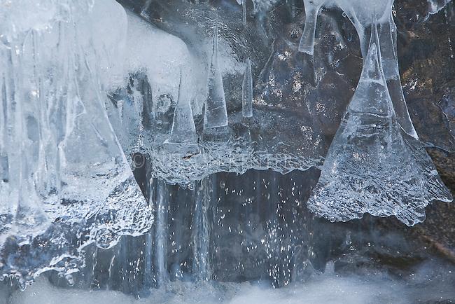 Melting snow ans ice along Kootenai Creek in Montana creates some interesting shapes