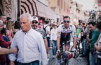 Zdenek Stybar (CZE/Quick-Step Floors) to the race start <br /> <br /> stage 14 San Vito al Tagliamento – Monte Zoncolan (186 km)<br /> 101th Giro d'Italia 2018
