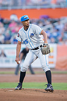 Hudson Valley Renegades starting pitcher Hector Lopez (25) in action against the Aberdeen IronBirds at Leidos Field at Ripken Stadium on July 27, 2017 in Aberdeen, Maryland.  The IronBirds defeated the Renegades 3-0 in game two of a double-header.  (Brian Westerholt/Four Seam Images)
