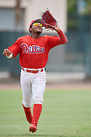 GCL Phillies East left fielder Jose Rivera (28) settles under a fly ball during a game against the GCL Blue Jays on August 10, 2018 at Carpenter Complex in Clearwater, Florida.  GCL Blue Jays defeated GCL Phillies East 8-3.  (Mike Janes/Four Seam Images)