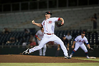 Scottsdale Scorpions relief pitcher Wyatt Strahan (32), of the Cincinnati Reds organization, delivers a pitch during an Arizona Fall League game against the Salt River Rafters at Scottsdale Stadium on October 12, 2018 in Scottsdale, Arizona. Scottsdale defeated Salt River 6-2. (Zachary Lucy/Four Seam Images)
