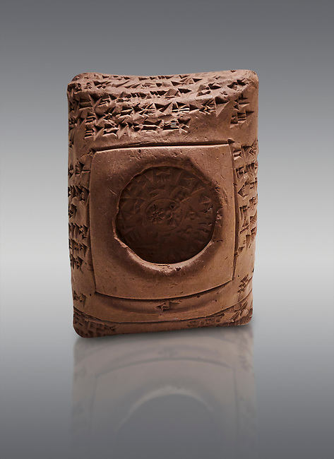 """Toprak Bagis Belgesi  cuneiform donation document of winter  pasture to the shepherds of Uhhiva city. Hittite Period 1600 - 1450 BC.  Hattusa Boğazkale. Çorum Archaeological Museum, Corum, Turkey.<br /> <br /> The document reads """"The Big King donates the summery and winter pastures with shepherds of Uhhiva city to his servant Hassuli, head of the guardians. No one shall have the right to claim against Hassuli or his grandchildren in the future. The Big King's word is made of iron, which can never be changed or broken. Whoever changes his word shall be beheaded. This tablet was written by Hanukkuli, Sarpa, head of Hittite palace guardians before Iskanussu, commander-in-chief."""""""