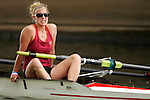 A rower from Virginia Tech reacts after crossing the finish line in the Women's Varsity Lightweight Four Final during the 68th Dad Vail Regatta on the Schuylkill River in Philadelphia, Pennsylvania on May 13, 2006.................