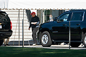 United States President Donald J. Trump boards his motorcade on the South Lawn of the White House in Washington, DC on Sunday, September 20, 2020.  The President will travel to Trump National Golf Club in Herndon, Virginia<br /> Credit: Chris Kleponis / Pool via CNP
