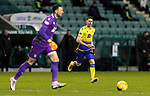 Hibs v St Johnstone…24.11.20   Easter Road      SPFL<br />Guy Melamed closes down Ofir Marciano<br />Picture by Graeme Hart.<br />Copyright Perthshire Picture Agency<br />Tel: 01738 623350  Mobile: 07990 594431