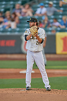 Adam Hofacket (20) of the Salt Lake Bees looks to second base against the New Orleans Baby Cakes at Smith's Ballpark on August 4, 2019 in Salt Lake City, Utah. The Baby Cakes defeated the Bees 8-2. (Stephen Smith/Four Seam Images)