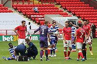 Charlton goalkeeper, Dillon Phillips, shows his frustration as he argues with referee, Darren Bond, about some of his decisions during Charlton Athletic vs Reading, Sky Bet EFL Championship Football at The Valley on 11th July 2020