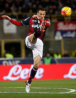 Calcio, Serie A:  Bologna vs Juventus. Bologna, stadio Renato Dall'Ara, 19 febbraio 2016. <br /> Bologna's Daniele Gastaldello kicks the ball during the Italian Serie A football match between Bologna and Juventus at Bologna's Renato Dall'Ara stadium, 19 February 2016.<br /> UPDATE IMAGES PRESS/Isabella Bonotto