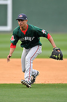 Jeremy Rivera (35) of the Greenville Drive in a team workout on Wednesday, April 6, 2016, at Fluor Field at the West End in Greenville, South Carolina. (Tom Priddy/Four Seam Images)